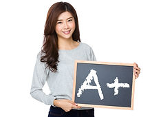 Asian woman hold with black board and sh
