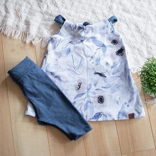 Robe camisole évolutive fleurie bleue - Mamie&cie