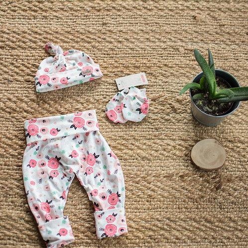 Legging évolutif nouveau-née fleurs rose pâle - Mamie&cie