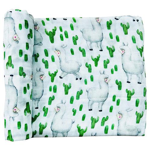 Couverture mousseline Cactus & Lama -  Doux bécot