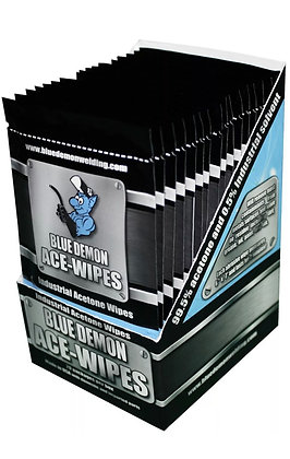 """Surface Cleaning Wipes 7"""" x 6"""" 99.5% Acetone Blue Demon Ace-Wipes Disposable"""