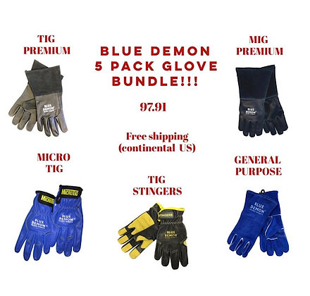 5 Pairs of Blue Demon Welding Gloves