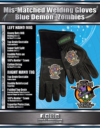 Zombie mis-matched welding gloves Blue Demon