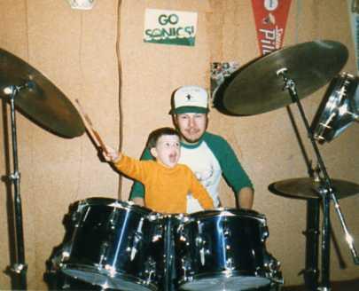 Drummer Jimi and Dad (PJ) 1986