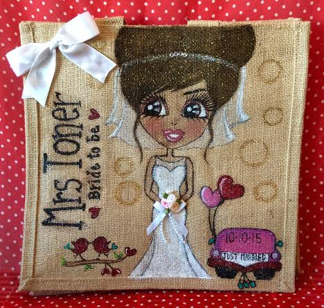 Personalised bride jute tote bag