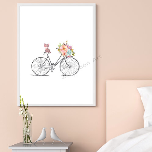 Cute Cat/Kitten on a Bicycle Wall Art Poster Picture