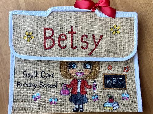 Hand Painted Bespoke/Celebs Personalised School Book Jute Bag