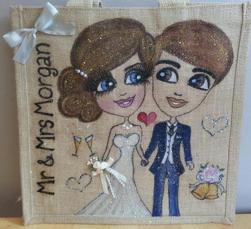 Personalised wedding jute tote bags