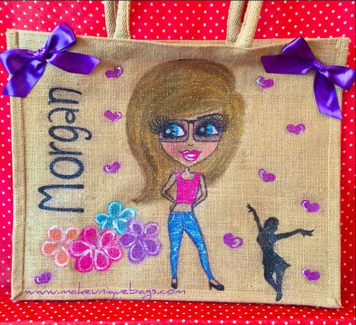 Large personalised dancer jute bag