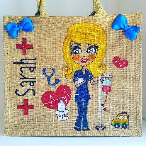 Nurse/Care Worker Personalised Tote Jute Bag