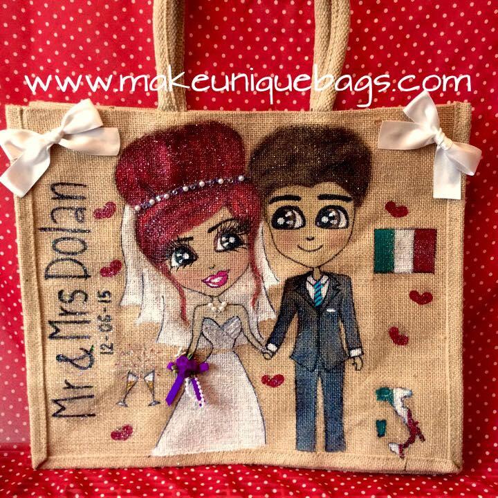 Personalised couple jute tote bag