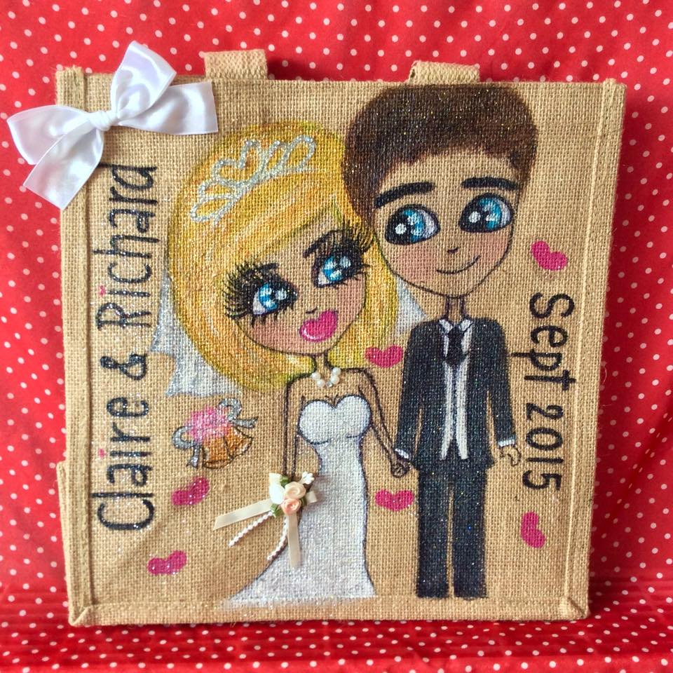 Personalised couple jute tote bags