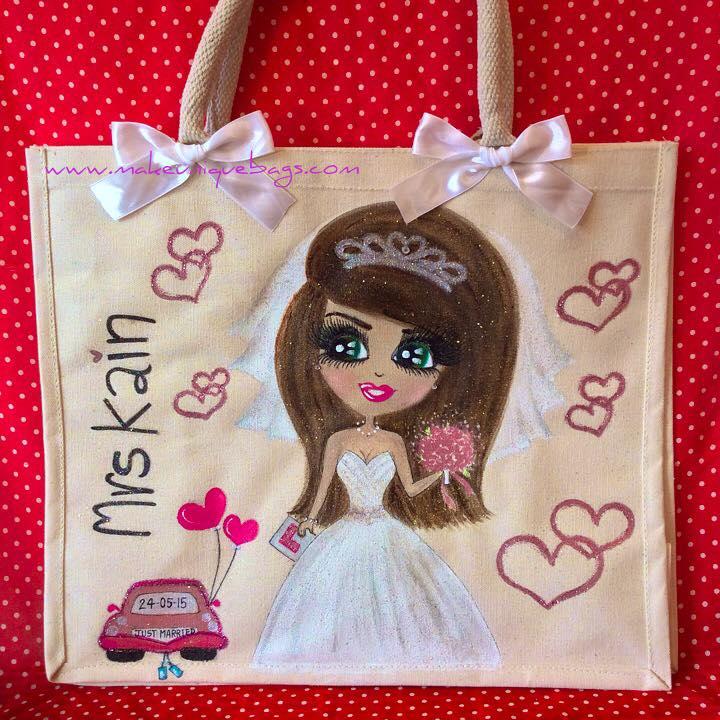 Personalised bride canvas bag