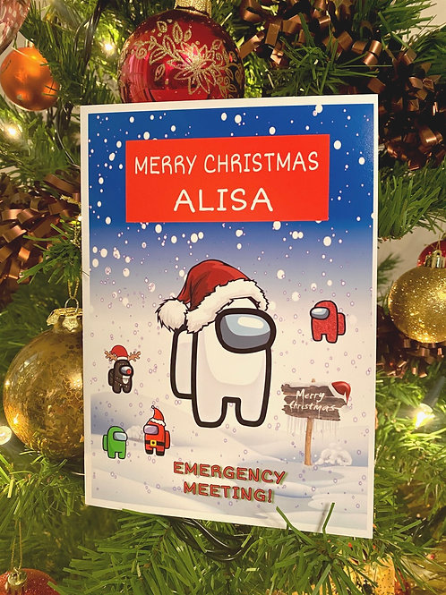 CoAMONG US Personalised Christmas Card Greeting pc ios android gamer