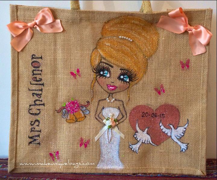 Personalised bride jute tote bags
