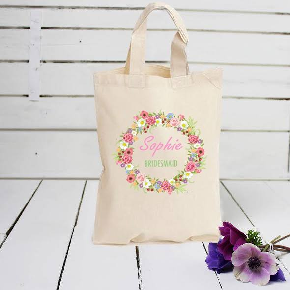 bridesmaid personalised cotton bag