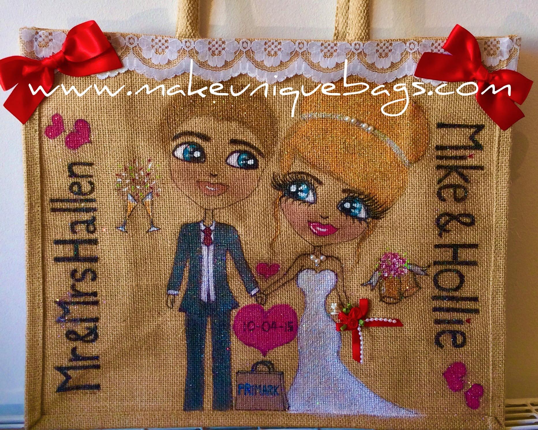 Personalised wedding jute tote bag