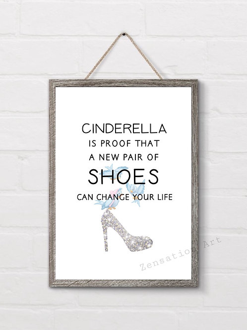 Cinderella shoes lover picture prints wall art poster
