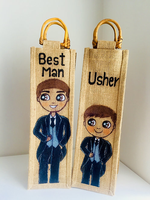 Personalised Jute Celebration/Thank you Bottle bag