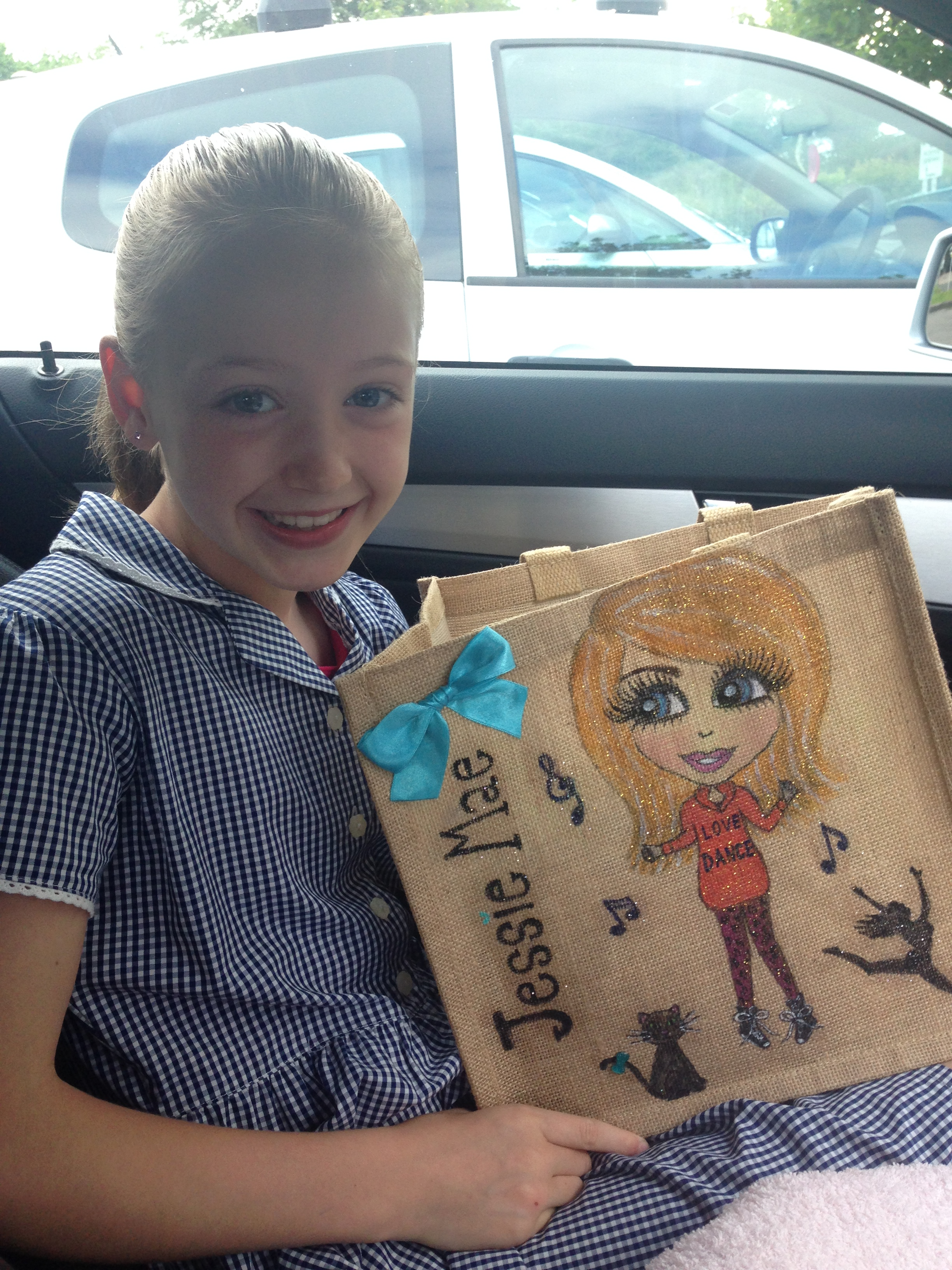 personalised jute dancer bag
