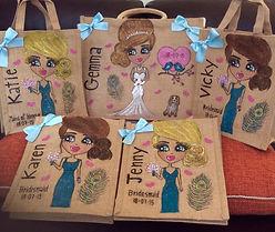 personalised bride/bridesmaids jute bags