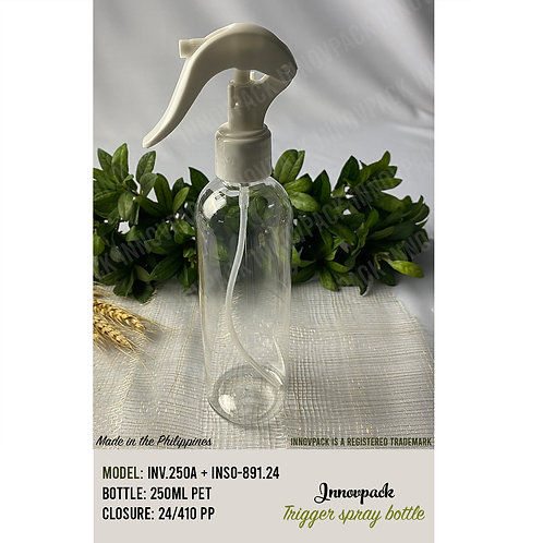 250 ML ROUND COSMO BOTTLE WITH MINI TRIGGER 221PCS X 21.12 PHP/PC