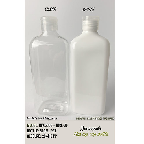 500 ML RECTANGLE BOTTLE WITH FLIP TOP CAP 160PCS X 11.50 OR 12.25 PHP/PC