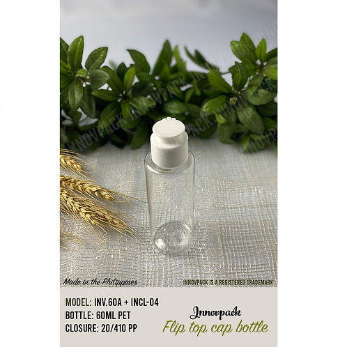 60 ML ROUND CYLINDRICAL BOTTLE WITH SPECIAL FLIP TOP CAP 153PCS X 8.08 PHP/PC