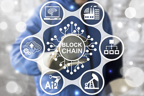 Blockchain Industrial Strategy Concept.