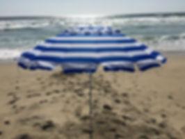 1432 8ft Royal Blue & White Stripe Beach