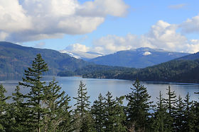 Picture of lake and forest with mountain in background
