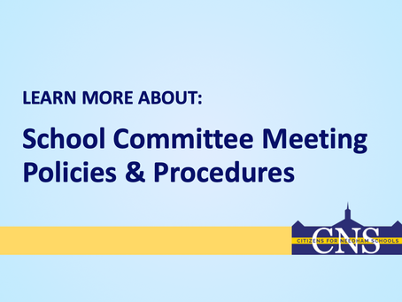 School Committee Meeting Policies & Procedures