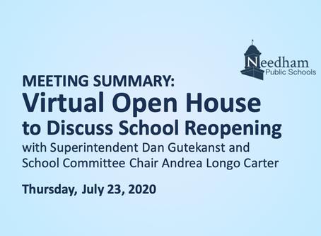 SC Open House: July 23, 2020