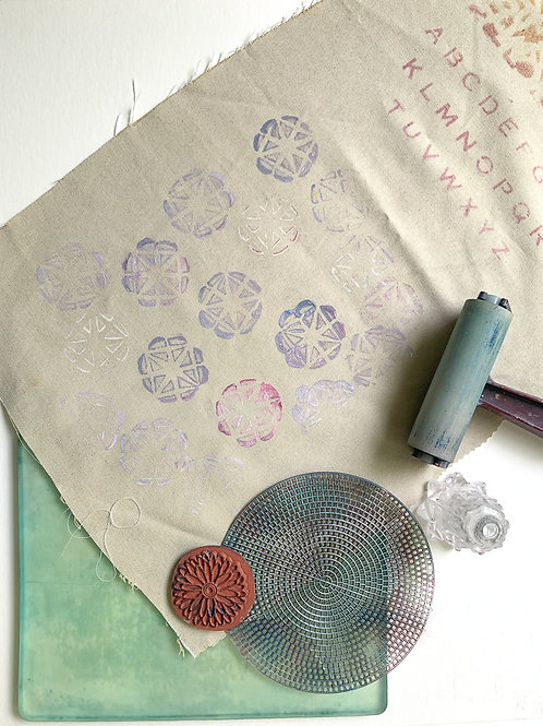 Gel Printing on Fabric Online; Aug 10 and 17; 6-8pm