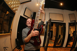 """Action shot during the recording of Abbie Gardner cd called """"Wishes on a Neon Sign"""". Recorded at Big Orange Sheep studio in Brooklyn, NY with producer Michael Bellar and engineer Chris Benham."""