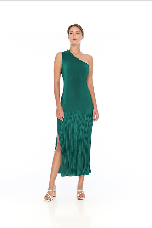 Soiree One Shoulder Dress Emerald