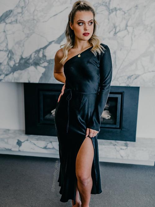 Classic One Shoulder Dress Black