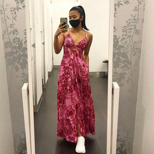 Silk Cotton Strappy Dress Raspberry
