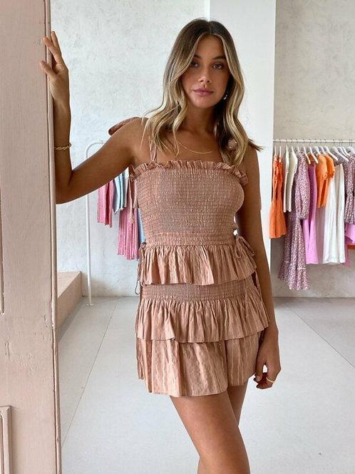 Corinne Shirred Mini Dress