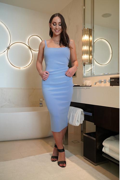 Karina Tuck Midi Dress Blue
