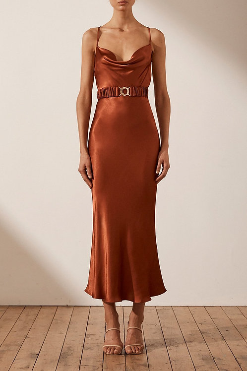 Sophia Bias Cowl Midi Dress