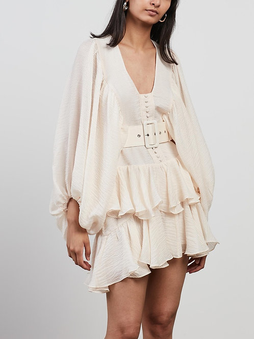 Charlotte Plunge Draped Mini Dress Ecru