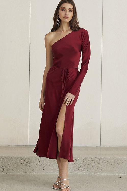 Classic One Shoulder Dress Burgundy