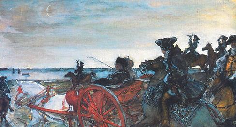 Выезд Екатерины II на соколиную охоту. Худ. В.А. Серов. 1902