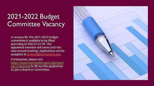 2021-2022 Budget Committee Vacancy Notic