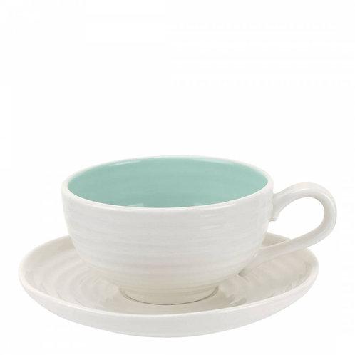 Sophie Conran Set of 4 Celadon Tea Cups & Saucers