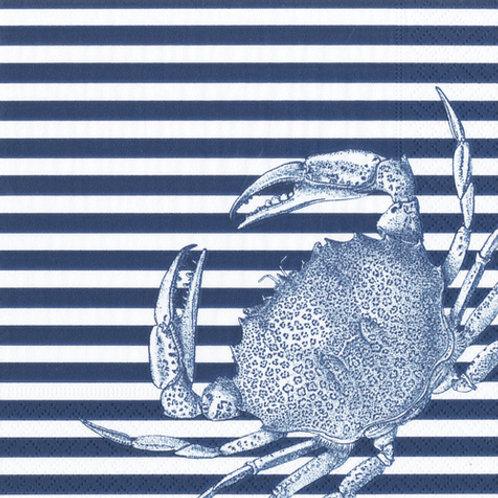 Caspari Collection Marine Crabs and Stripes Cocktail Napkin