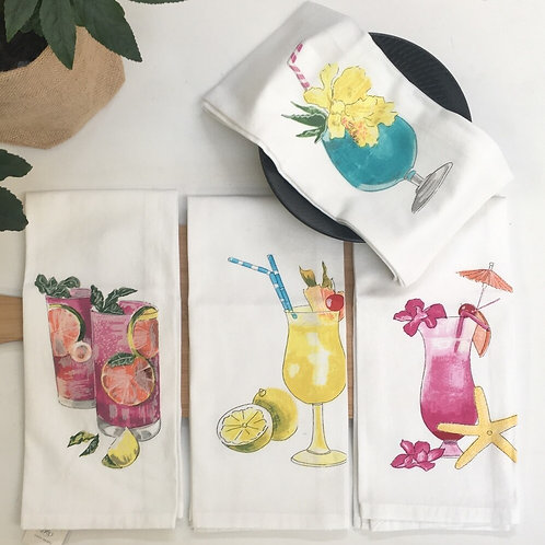 Cocktail Tea Towels - Pack of 4