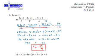 Exámenes resueltos de Ecuaciones (3º ESO)