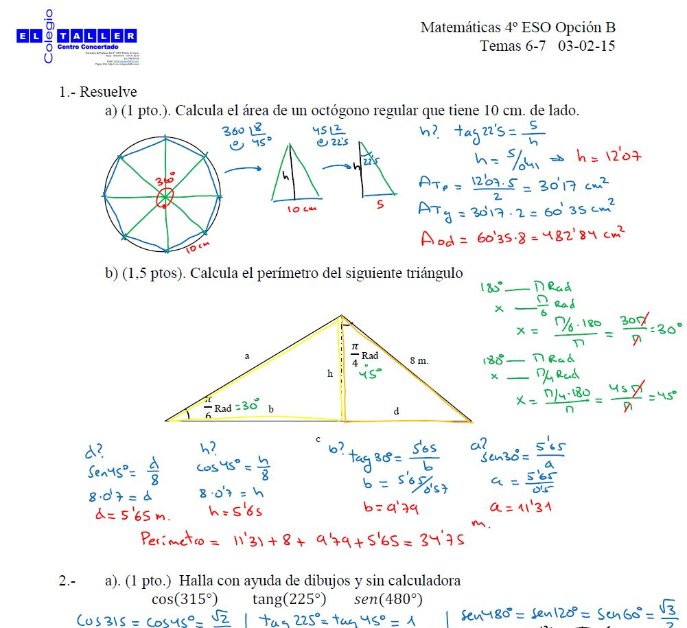 Controles de los Temas 6,7 y 8 (4º ESO Opción B)